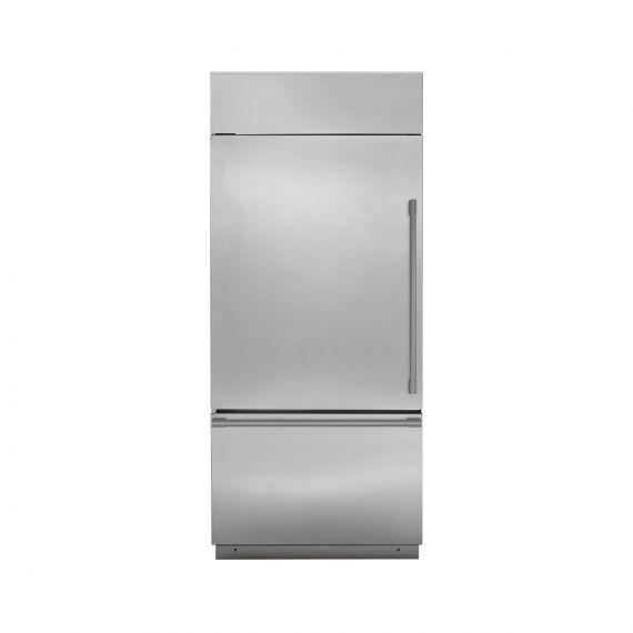 """GE Monogram 36"""" Built-In Bottom Freezer Left Hinge Stainless Refrigerator"""