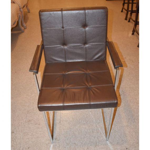 Cattelan Italia Brown Leather & Chrome Chair