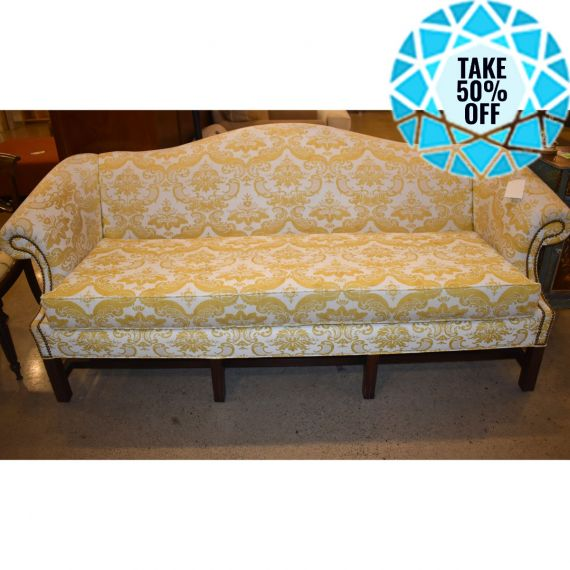 Yellow Chippendale Style Nailhead Couch