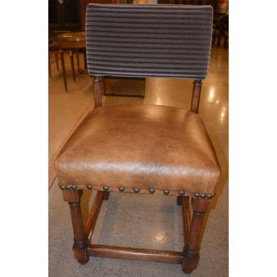 Green & Gold Sitting Chair w/ Matching Ottoman