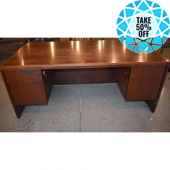 Large Dark Stained Office Desk