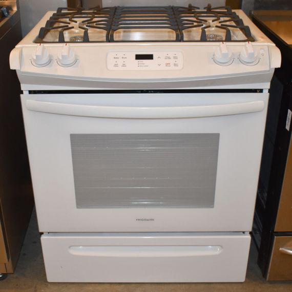 "Frigidaire 30"" White Slide-In Gas Range"