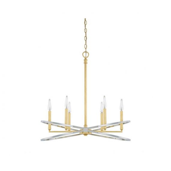 Capital Lighting Fire & Ice 6 Light Polished Nickel & Gold Chandelier