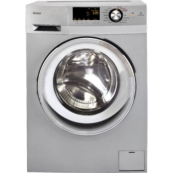 """Haier 24"""" Silver Front Load Electric Washing Machine"""