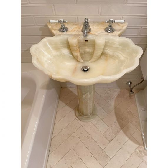 Sherle Wagner Hand Carved Onyx Pedestal & Waterworks Faucet