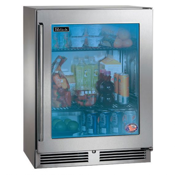 "Perlick 24"" Stainless & Glass Beverage Cooler"