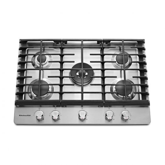 "KitchenAid 36"" Stainless 5 Burner Gas Cooktop"