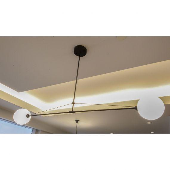 Modern Black 2 Light Globe Linear Pendant
