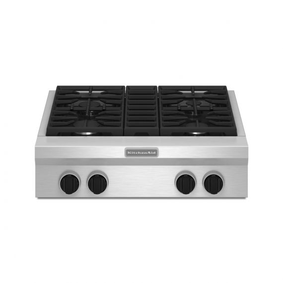 """KitchenAid 30"""" Stainless Commercial-Style 4 Burner Gas Rangetop 2018"""