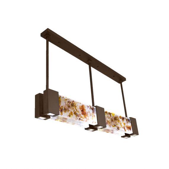 Fine Art Lamps Crystal Bakehouse 6 Light Art-Glass Bronze Pendant