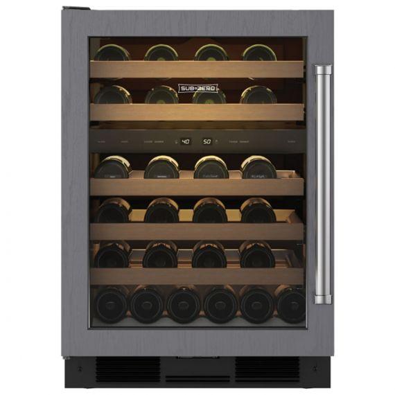 "Sub-Zero 24"" Stainless Paneled Left Hinge Wine Cooler W/Glass Door"