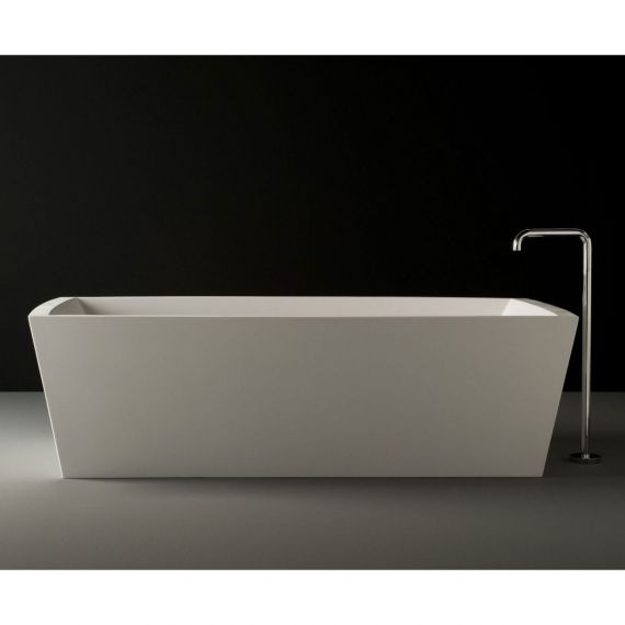 Boffi Gobi Small White Cristalplant Bathtub w/ Chrome Drain