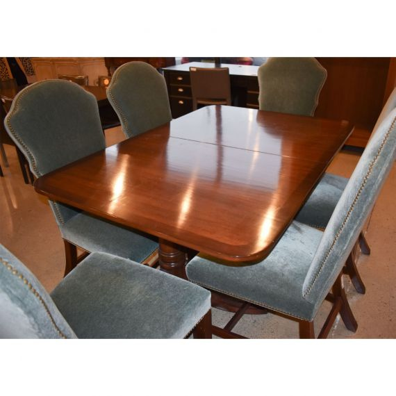 Wood Rectangular Dining Table w/ Leaf & 6 Chairs