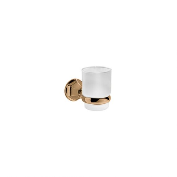 Graff Topaz Brushed Brass Tumbler & Holder