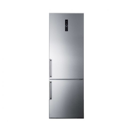 "Summit 24"" Stainless Counter Depth Left Hinge Bottom Freezer Refrigerator"