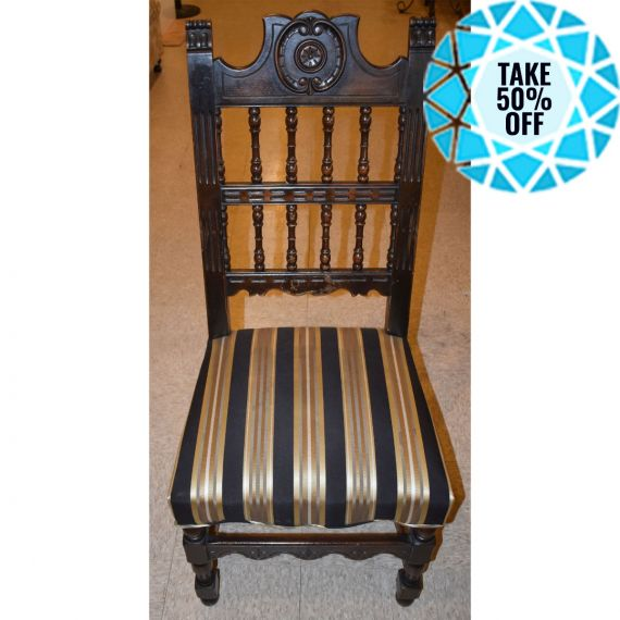 Black & Gold Striped Dining Chair