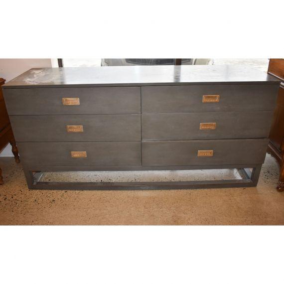 Grey & Chrome 6 Drawer Dresser
