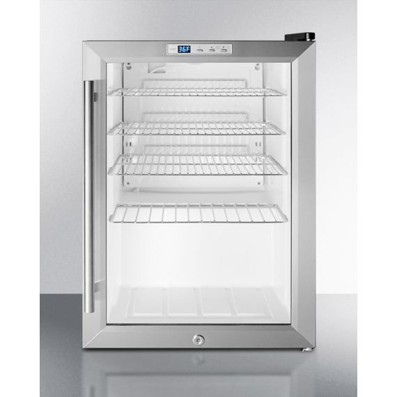 """Summit 18"""" Stainless & Glass Built-In Beverage Center"""