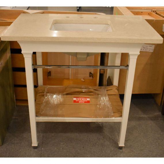 White Console Vanity w/ Glass Shelf
