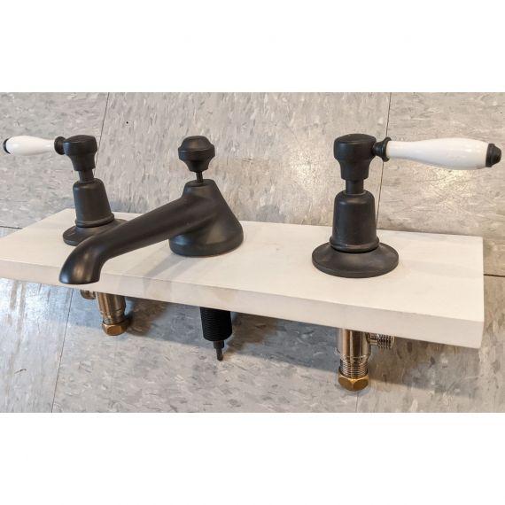 Waterworks Easton Classic Architectural Bronze Lavatory Faucet w/ White Handles