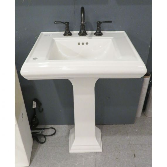 Kohler White Pedestal Sink w/ Oil Rubbed Bronze Faucet