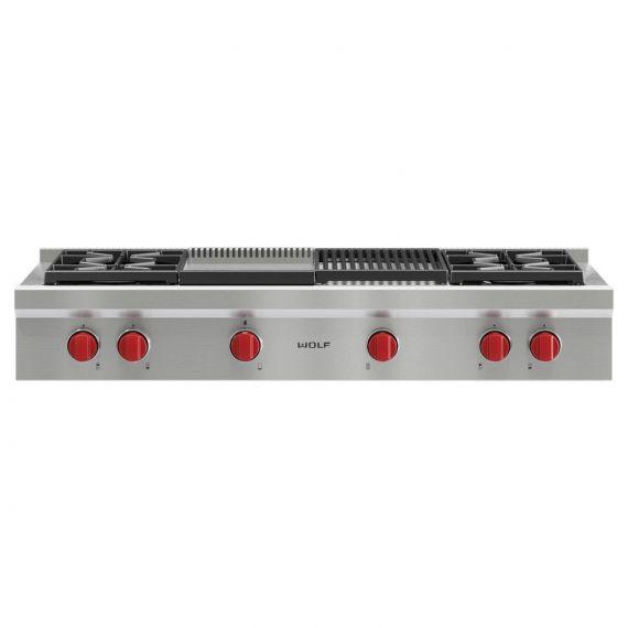 "Wolf 48"" Sealed Burner Rangetop 4 Burners, Infrared Charbroiler and Infrared Griddle"