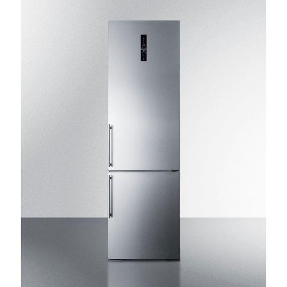 """Summit 24"""" Stainless Steel Bottom Freezer Refrigerator"""