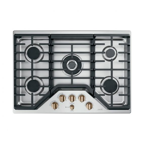 "GE Café 30"" Stainless 5 Burner Gas Cooktop"