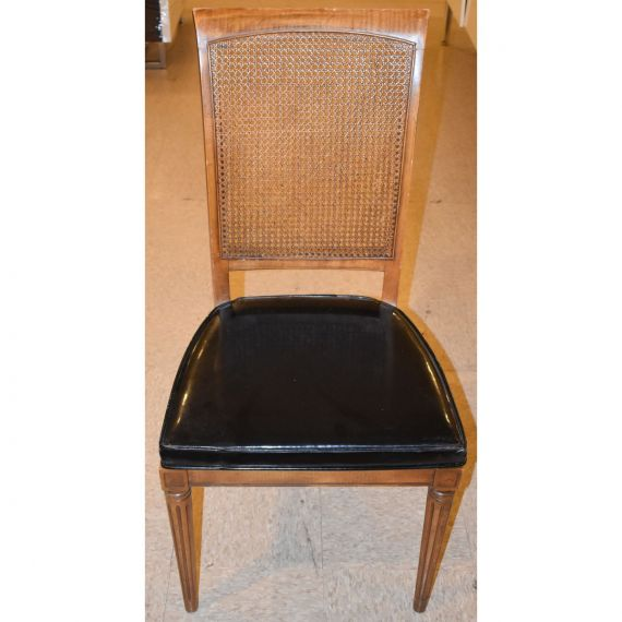 Set of 4 Black-Seat Wicker Dining Chairs