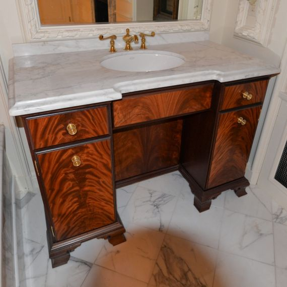 Gold-Accented Single Vanity w/ Sink, Faucet, & Marble Top
