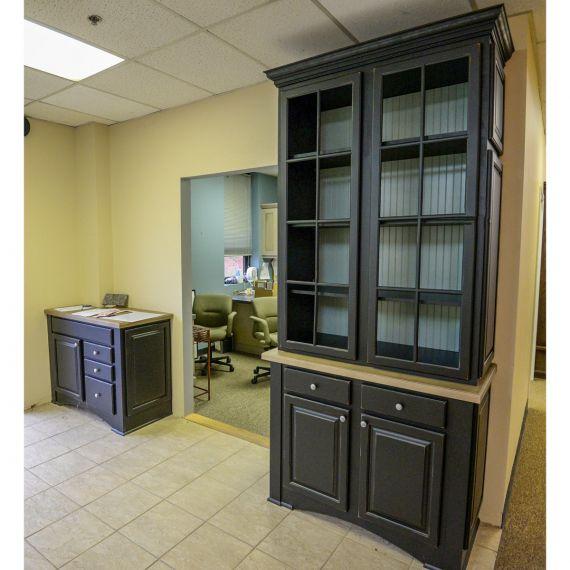 Black & Wood Traditional Showroom Display Hutch & Sideboard