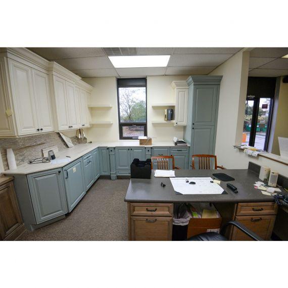 Cream & Slate Traditional Showroom Display Kitchen & Desk Area