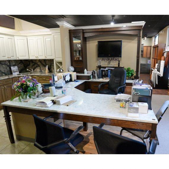 KraftMaid Mocha Showroom Display Desk Area