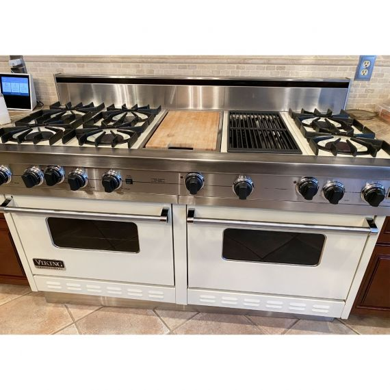 """Viking 60"""" Off White Gas Range W/ Griddle & Grill"""