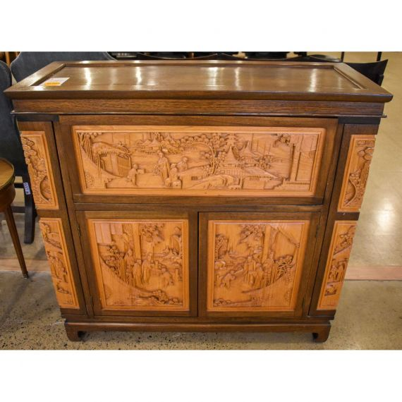 Carved Wood Bar Cabinet