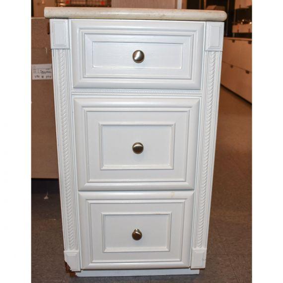 Bertch White Storage Cabinet w/ Stone Top