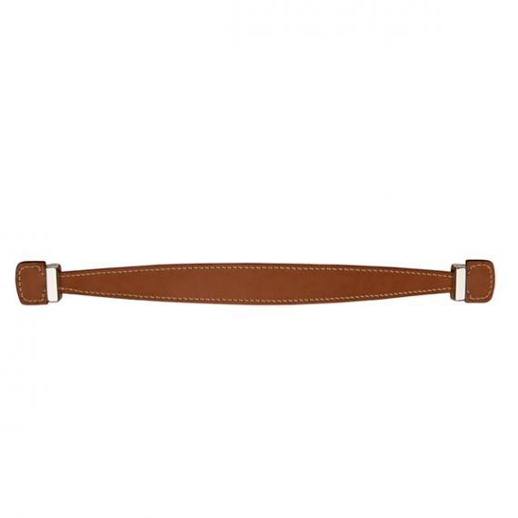 """Waterworks Rockport 12"""" Tan Leather & Unlacquered Brass Appliance Pull"""
