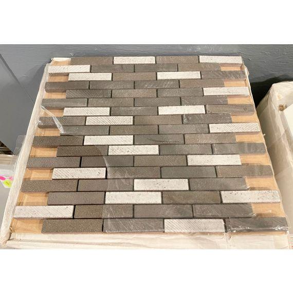 "Waterworks Magma Brick 12 X 12"" Mosaic Java Matte/Crackle Blend Tile (10 Per Box)"