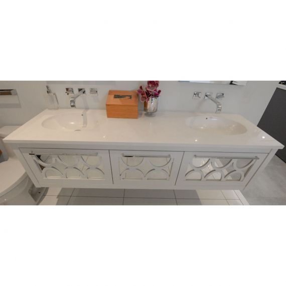White Mirrored Wall Mount Double Vanity