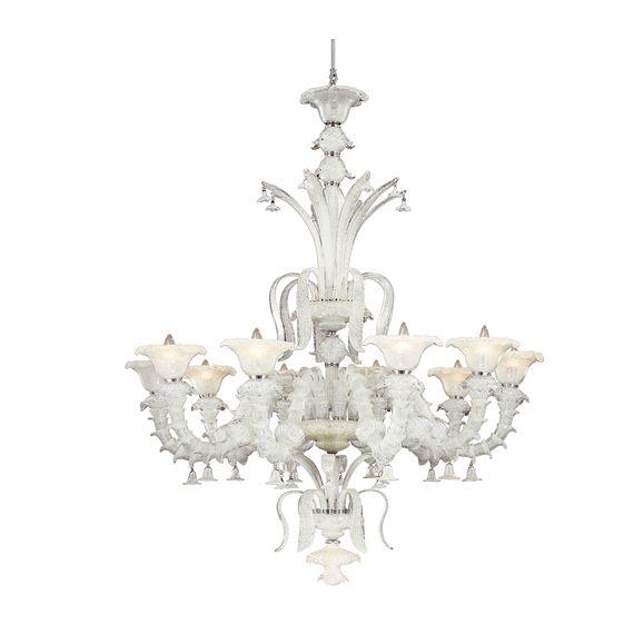 Eurofase Orillia 10 Light Ivory Glass Chandelier