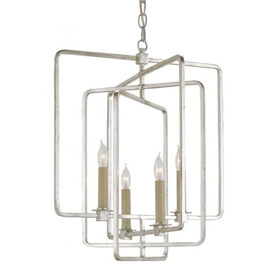 Currey & Company Metro 4 Light Silver Square Chandelier