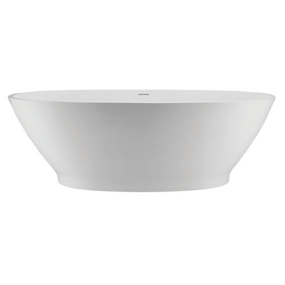 Alissa 4 Freestanding Soaker Tub Matte White With Glossy Grey Exterior