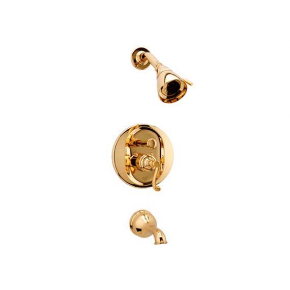 Graff Elegante 18K Gold Transitional Pressure Balance Tub & Shower Set