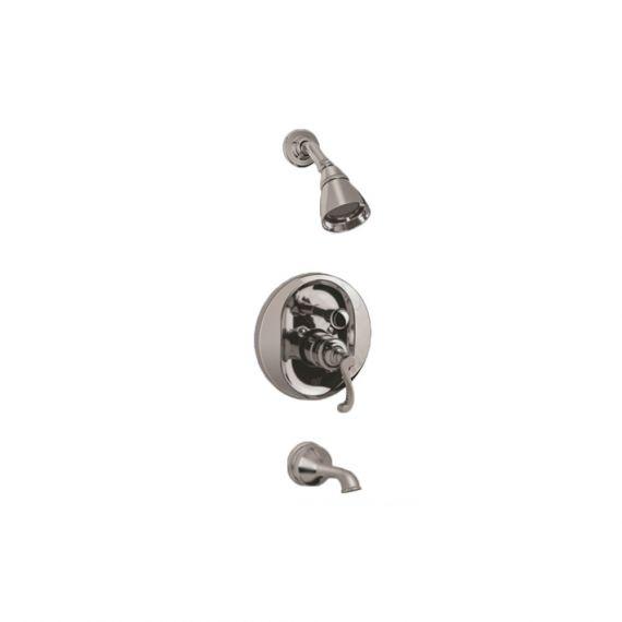 Graff Elegante Brushed Nickel Braided Handle Transitional Pressure Balance Tub & Shower Set