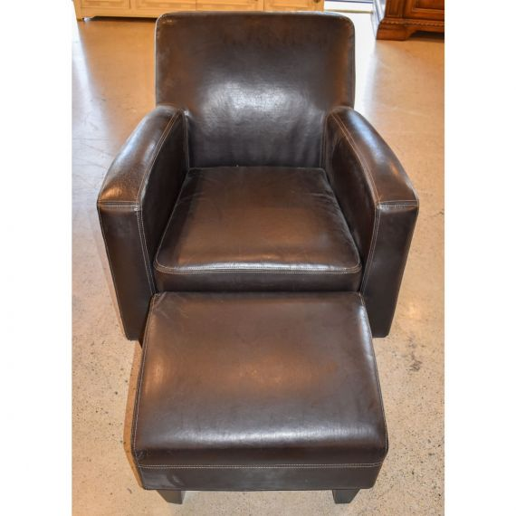 Leather Side Chair & Ottoman