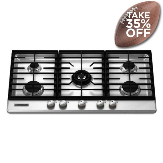 """KitchenAid 36"""" Stainless Gas Cooktop 2013"""