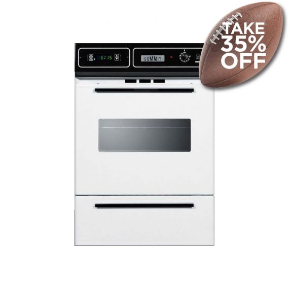 """Summit 24"""" White Single Gas Wall Oven"""