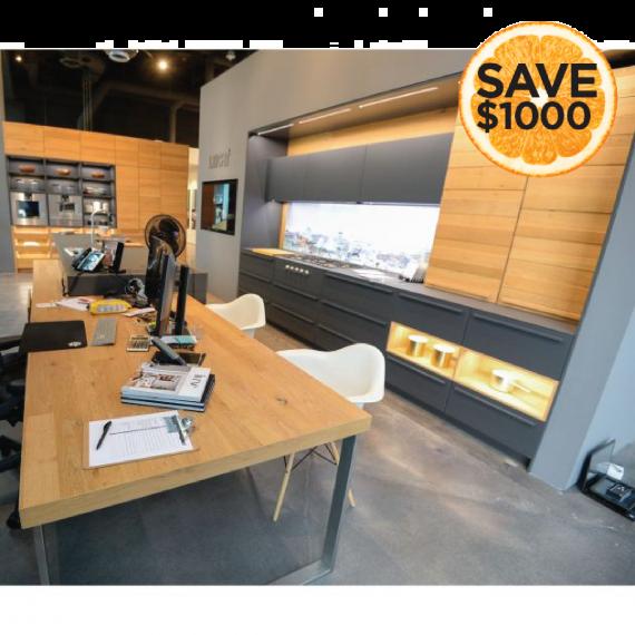 Leicht Grey & Wood Modern Showroom Display Kitchen