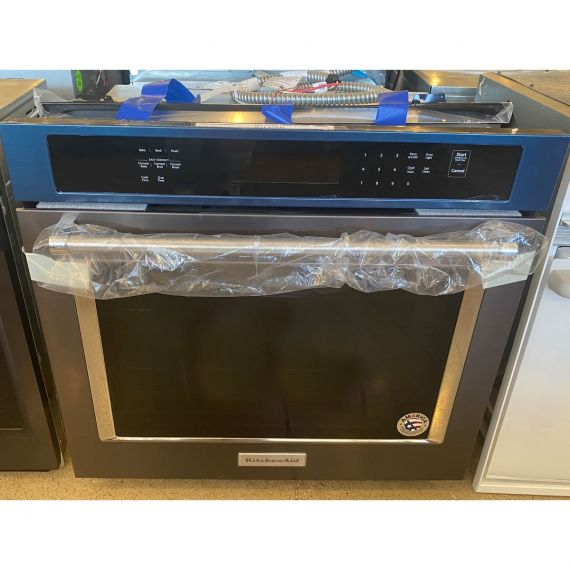 """Kitchenaid 30"""" Black Stainless Single Convection Oven"""