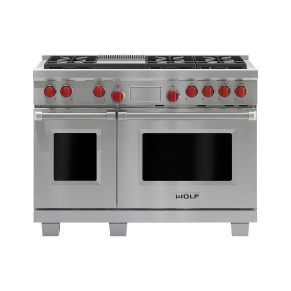 "Wolf 48"" Stainless 6 Burner Dual Fuel Range"